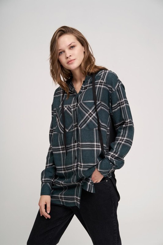 Plaid Hooded Shirt (Green)