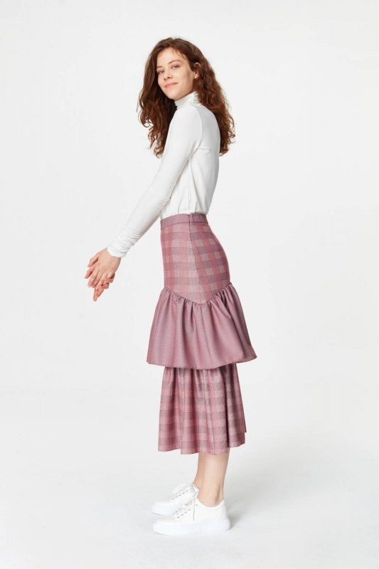 Plaid Long Skirt (Claret Red)
