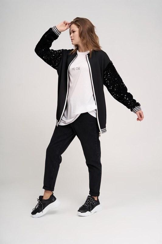 Plaid Sequins Sweatshirt (Black)