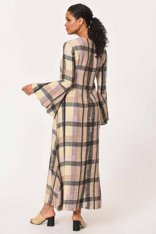 Ekose Renkli Uzun Elbise (Bej/Pudra)