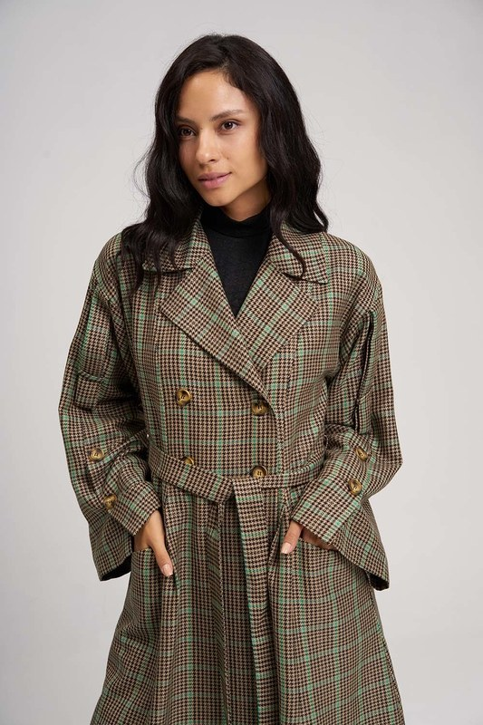Plaid Trench Coat (Green)