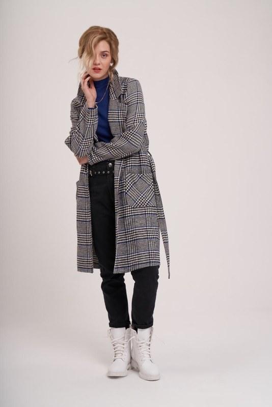 Ekose Uzun Ceket (Siyah/Beyaz)