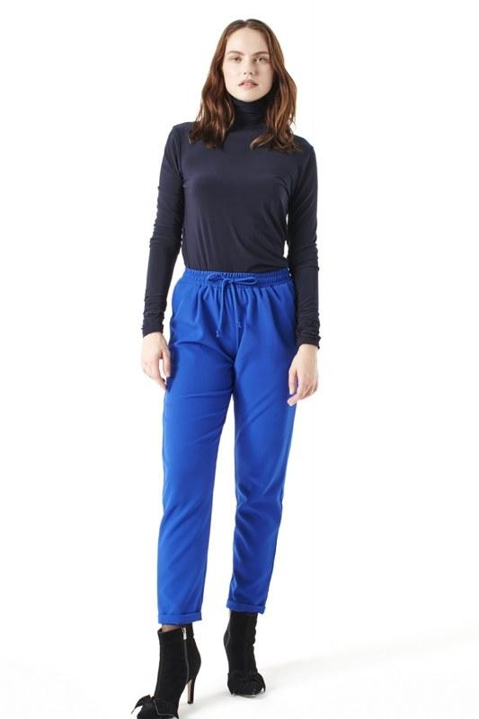 Elasticated Waist Cuffed Trousers (Sax Blue)