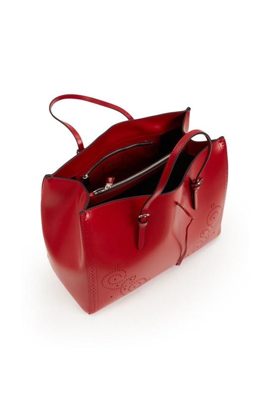 حقيبة يد جلدية كبيرة مطرزة (أحمر)
