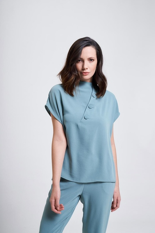 Coating Buttoned Blouse (Mint)