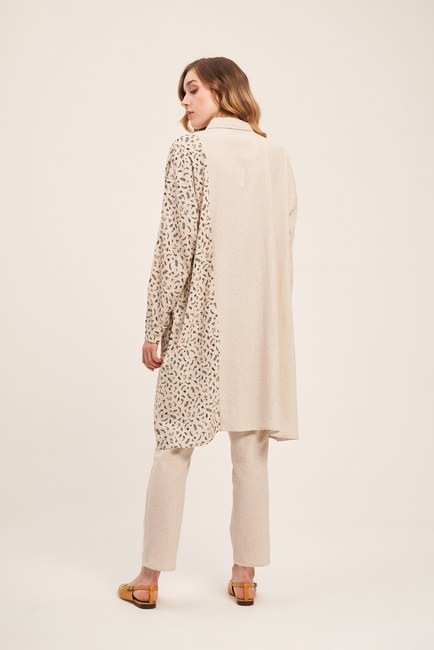 Flower Detailed Linen Textured Tunic (Beige) - Thumbnail