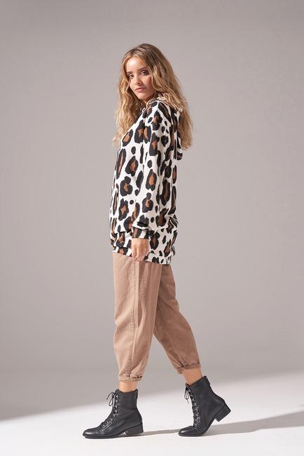Leopard Print Scuba Sweatshirt - Thumbnail