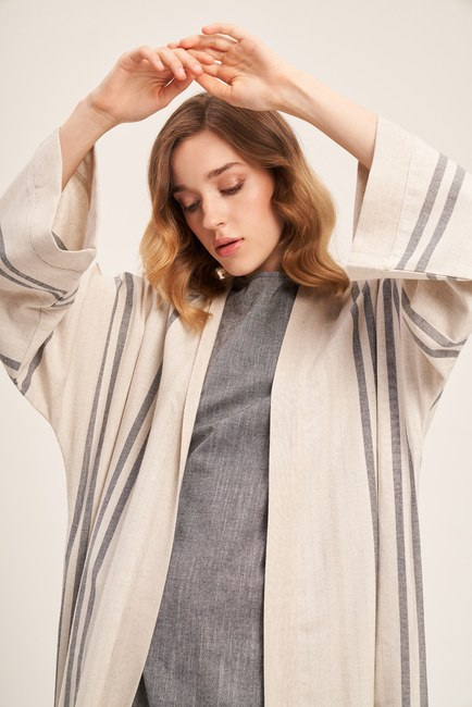 Linen Textured Long Caftan (Beige) - Thumbnail
