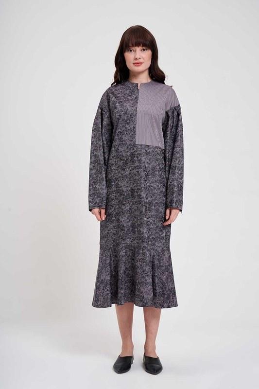 Piece Patterned Dress (Grey)