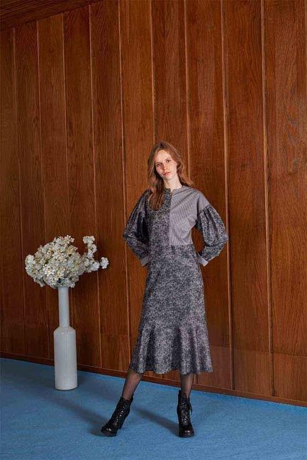 Piece Patterned Dress (Grey) - Thumbnail