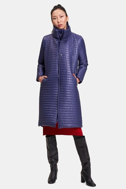 Quilted Double Collar Coat (Navy Blue) - Thumbnail