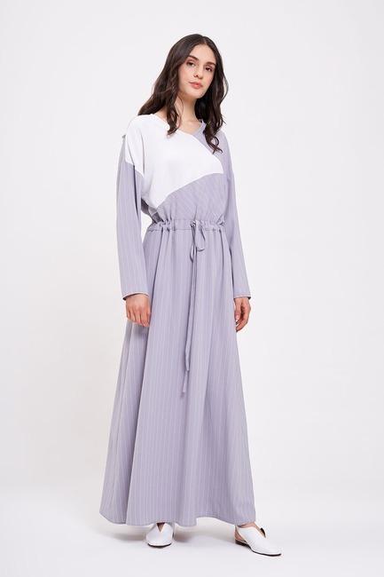 Striped Long Dress (Lilac) - Thumbnail