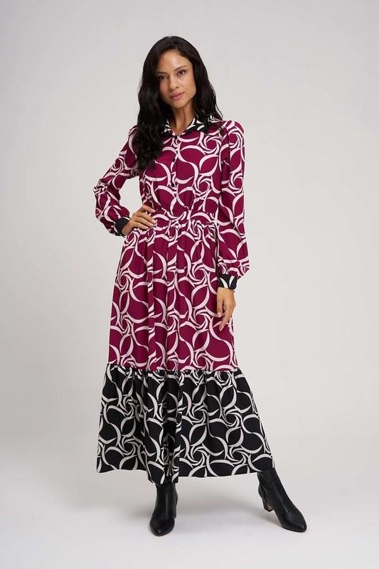 فستان طويل مخضرم (اسود - فوشيا)