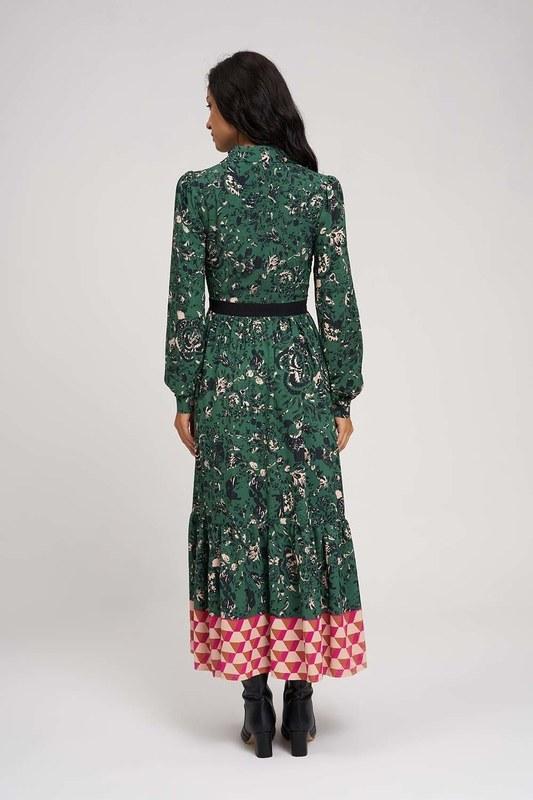 فستان طويل ذات نقشات (اخضر)
