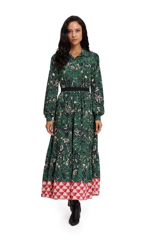 Eteği Desenli Uzun Elbise (Yeşil)