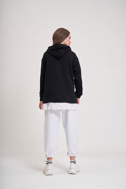 Eteği Fırfır Detaylı Sweatshirt (Siyah) - Thumbnail