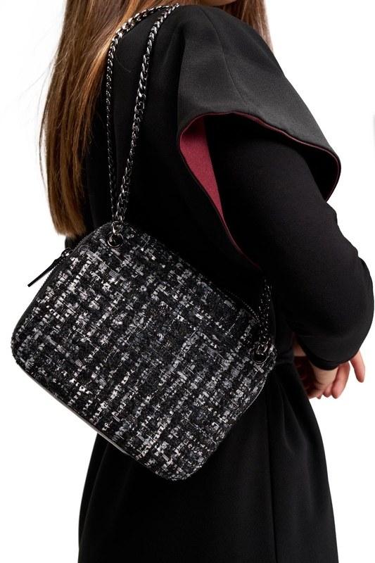 حقيبة نمط النسيج (أسود)