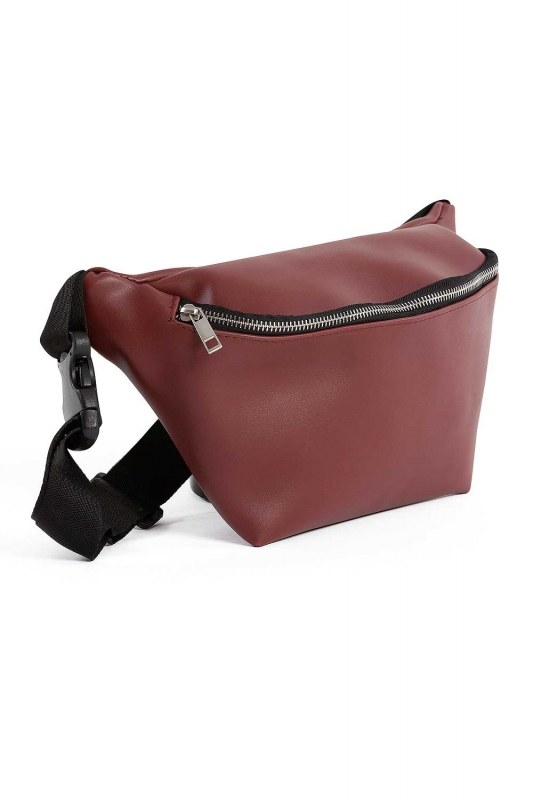 سحاب مفصلة ، حقيبة الخصر مع حزام (عنابي)