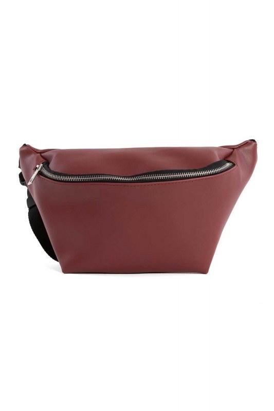 Zipper Detailed Waist Bag (Claret Red)