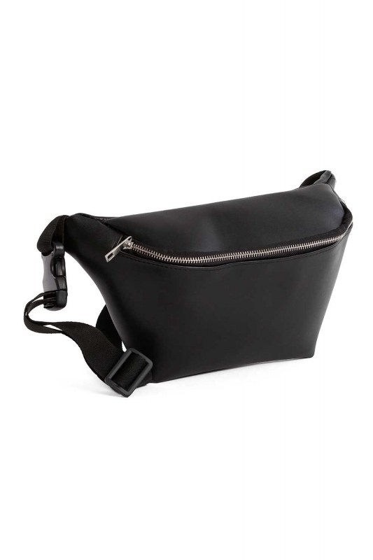 Zipper Detailed Waist Bag (Black)