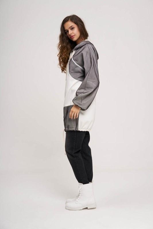 File Detaylı Sweatshirt (Beyaz)