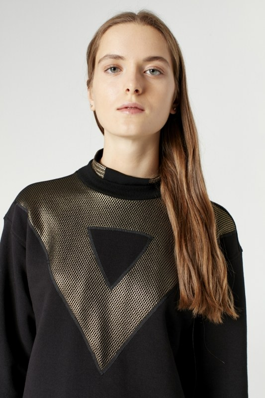 Net Detailed Sweatshirt (Black)