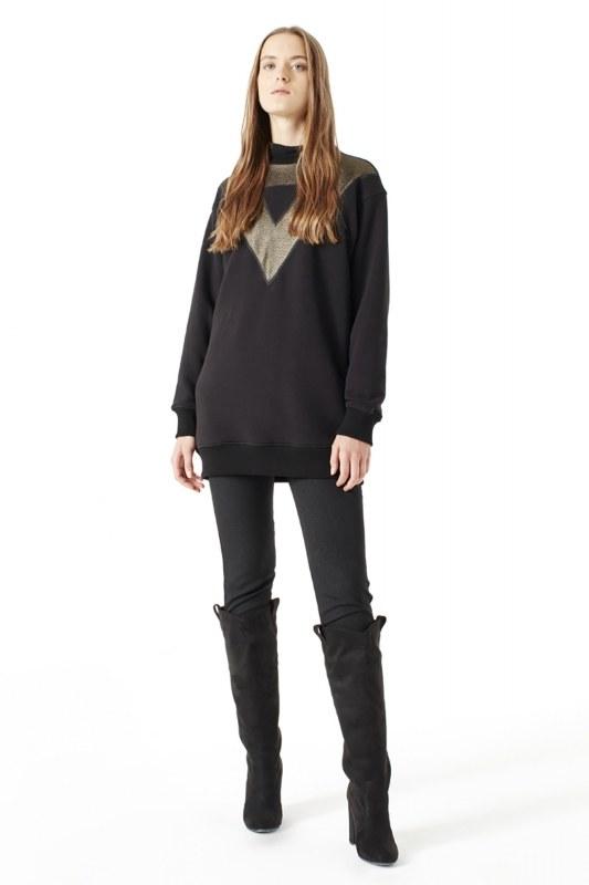File Detaylı Sweatshirt (Siyah)