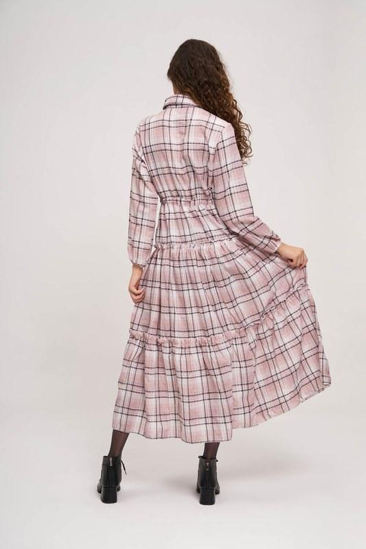 Ruffle Detail Plaid Dress (Pink)