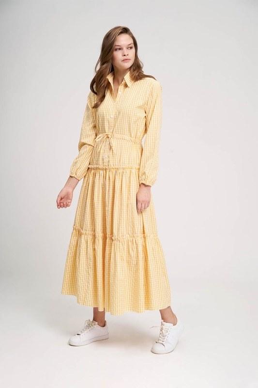 Ruffle Detail Plaid Dress (Yellow)