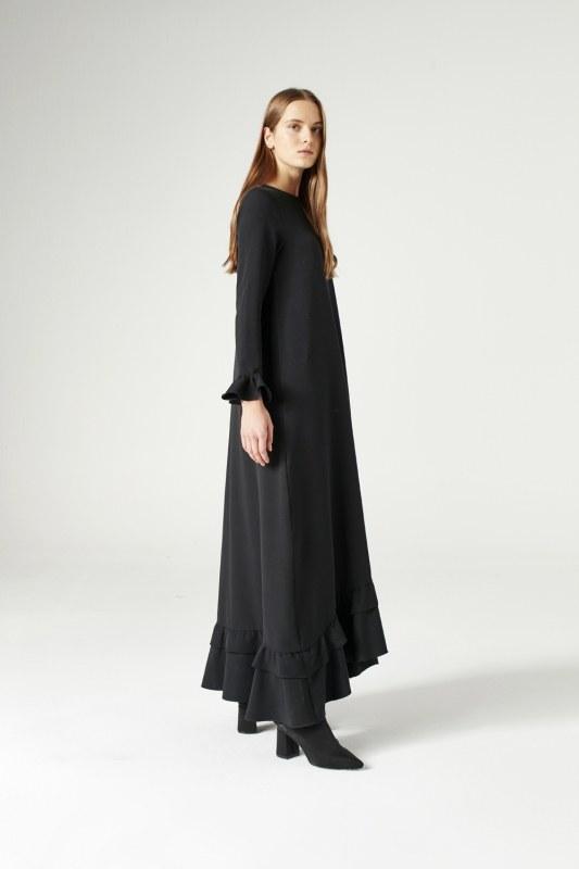 Fırfırlı Elbise (Siyah)
