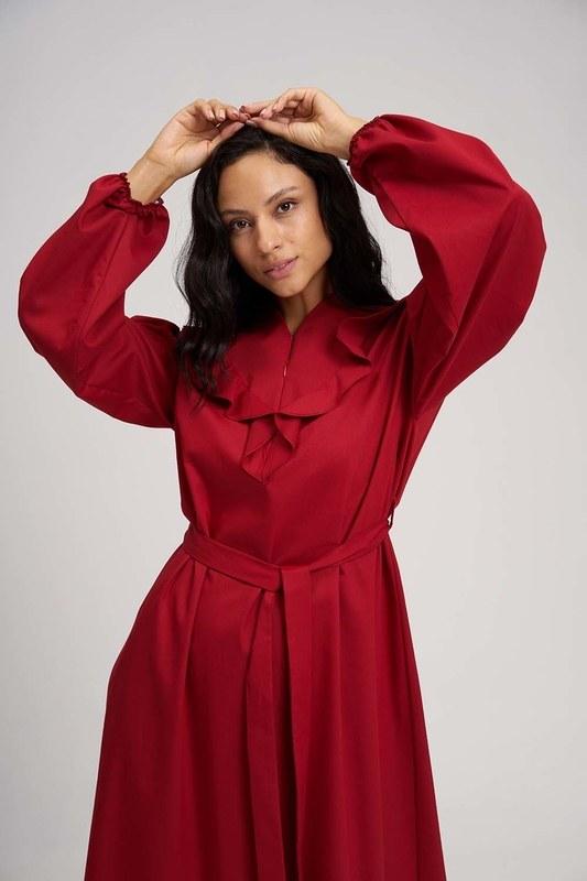 فستان ذات حزام له كسرات (احمر)