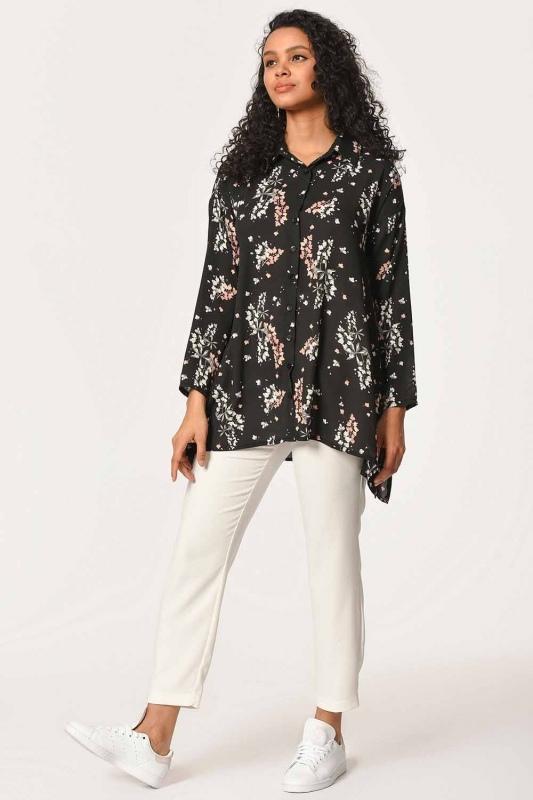 Floral Patterned Shirt Blouse (Black)