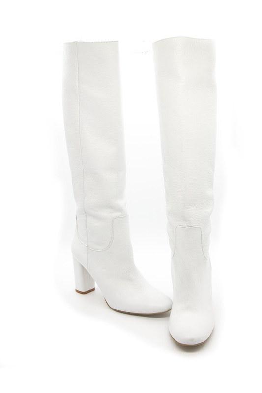 Floter Deri Uzun Çizme (Beyaz)