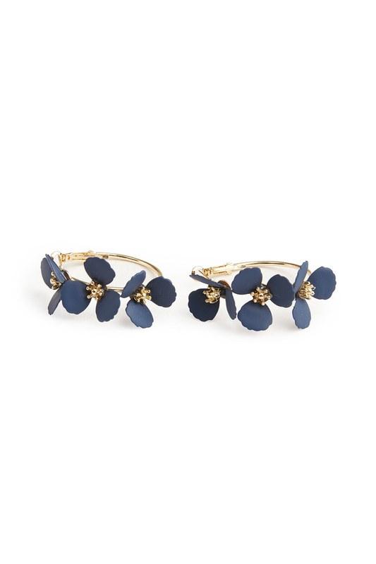 Flower Ring Shaped Earrings (Navy Blue)