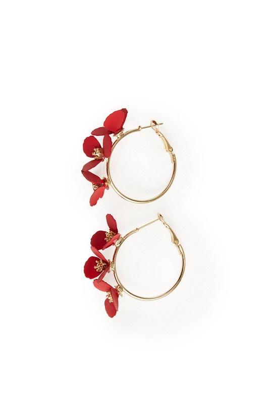 Flower Ring Shaped Earrings (Red)