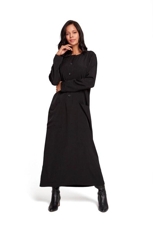 فستان بأزرار أمامية (أسود)