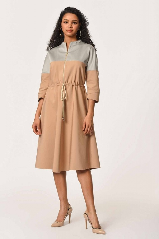 Front Zippered Lace Dress (Beige)