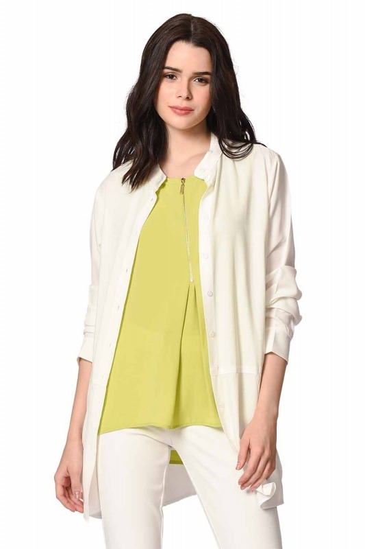 Front Zippered Sleeveless Blouse (Green)