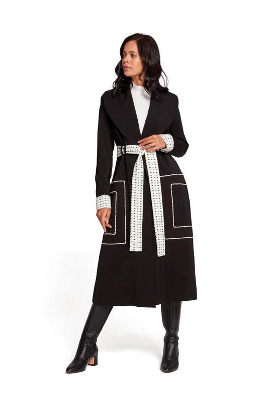 معطف منقوش بحزام منقوش (أسود)