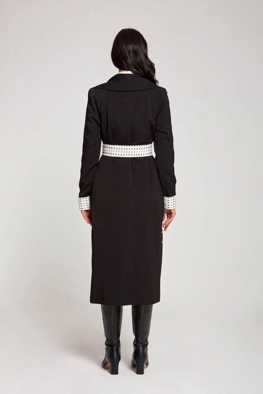 Garnished Belted TrenchCoat (Black)