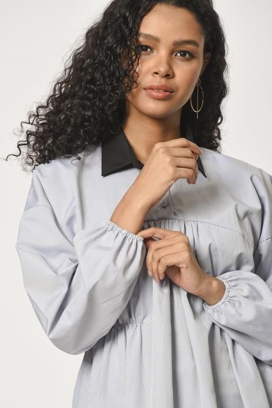 Önü Büzgülü Tunik Gömlek (Gri)