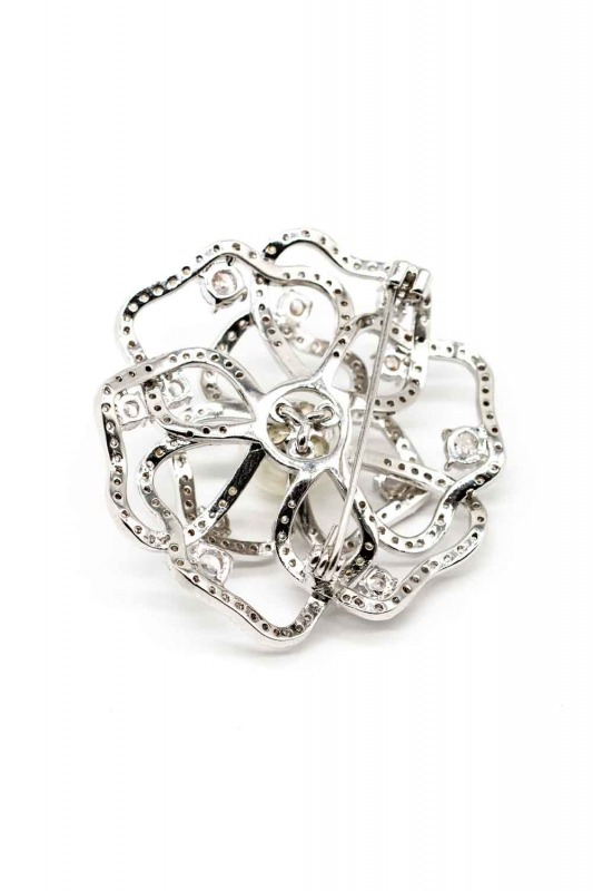 Rose Shaped Zircon Brooch