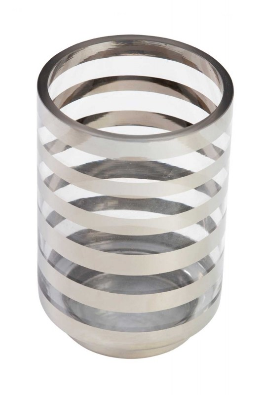 Silver Striped Candle Holder (Large)