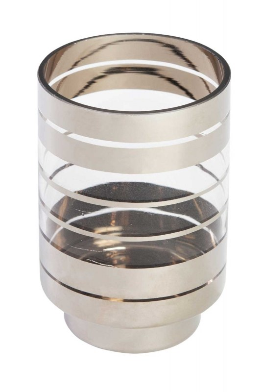 Silver Striped Candle Holder (Small)