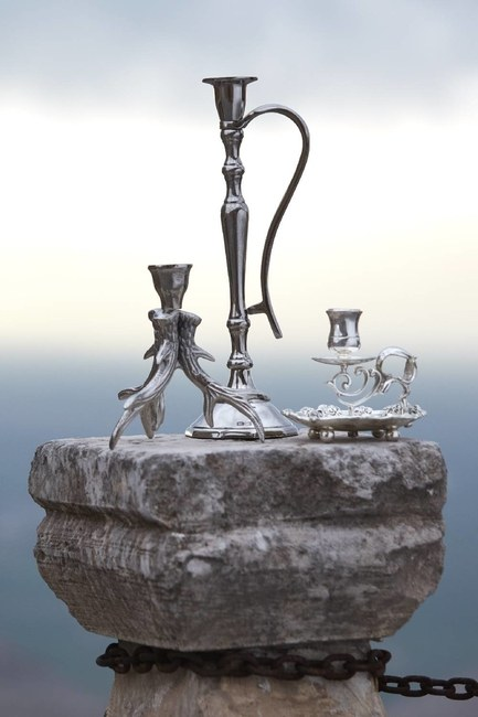 Gümüş Kaplama Kulplu Orta Mumluk (Gri) - Thumbnail