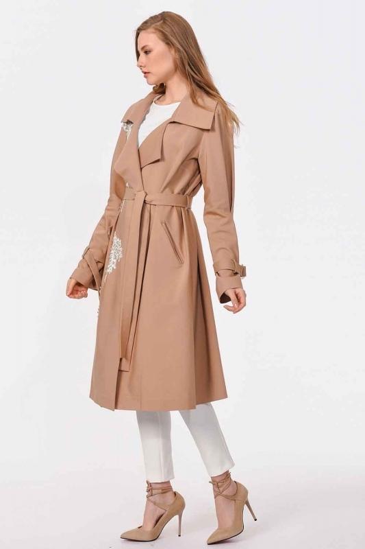Guipure Detailed Design Trenchcoat (Beige)