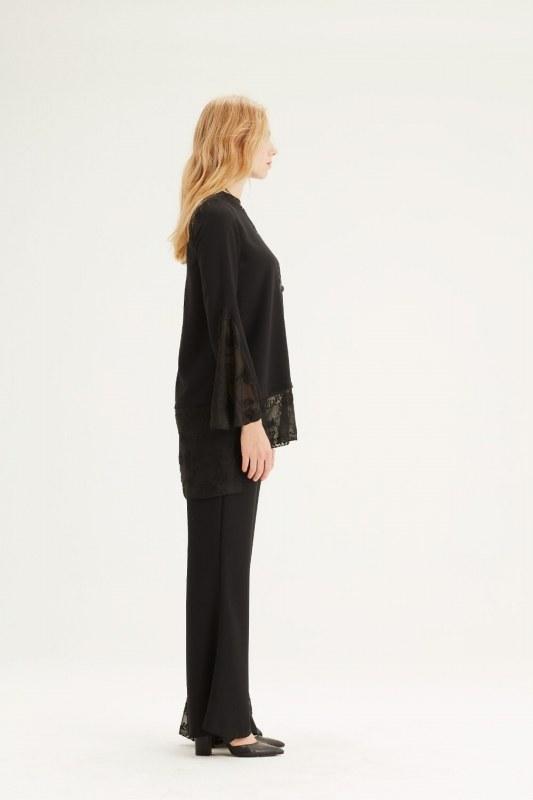 Güpür Detaylı Tunik (Siyah)