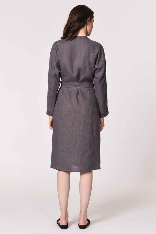 Judge Collar Linen Tunic Dress (Anthracite)