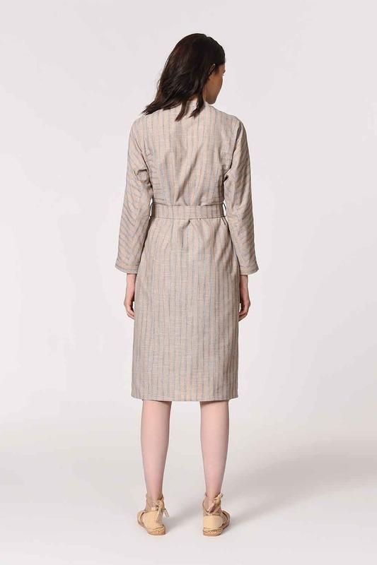 Judge Collar Linen Tunic Dress (Beige)