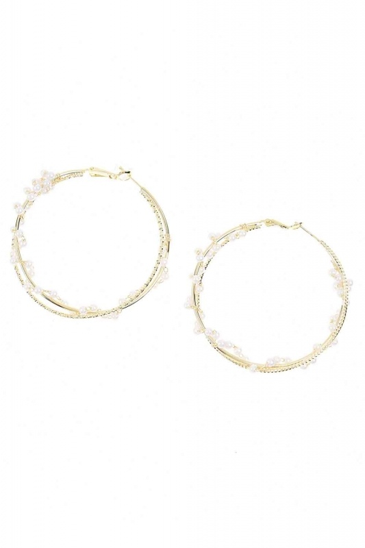 Ring Beaded Steel Earrings (St)
